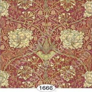 Dollhouse Miniature Wallpaper - Hamilton - Burgundy Red 1:24 Scale