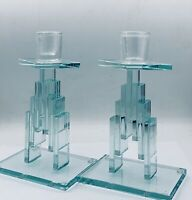 """Candle Holders Post Modern  Stacked/Glass 2 Vtg 80s Mid Century Deco  7 3/4"""""""