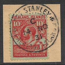 Falkland Islands 1929 Whale & Penguins 10/- Carmine/Emerald SG 125 (Fine Used)