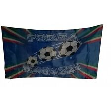 """Bandiera Italiana azzurra """"FORZA RAGAZZI"""" Nazionale con svolta per asta 280X170."""