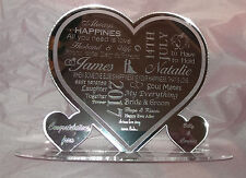Personalised Wedding Laser Engraved Mirror Acrylic Heart  Gift Congratulations