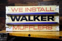Vintage Walker Muffler Lighted Advertising Sign Service Station Gas Station Old