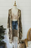 M Boho Bohemian Cardigan Cover Up Top Blouse Medium Beach Kimono New NWT