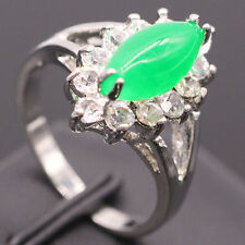 Chic Oval Green Jade White Zircon Cute Ring 18k White Gold Plated Ring Size 6