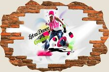 3D Hole in Wall Girl Street Dancing View Stickers Decal Wallpaper Mural 1101