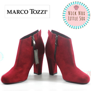 Marco Tozzi Ladies Ankle Suede High Heel boots 2-25391-23 -503 Chianti Red 39