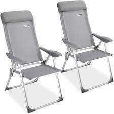 Set de 2 sillas plegables de Aluminio respaldo alto reclinable jardín balcón