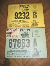 Pennsylvania Adult & Junior Resident Hunting Licenses - 1976, No Tags