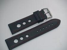 24 mm Gran Premio di Pelle Nera con Cuciture rosse Watch Strap SS