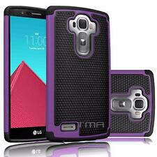 LG G4 Heavy Duty Rubber Dual Layer Impact Shockproof Hybrid Case Cover - Purple