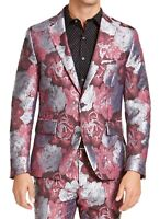INC Mens Suit Jacket Red Silver Small S Slim Fit Floral Jacquard Blazer $149 003