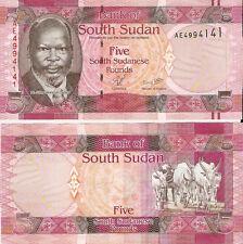 South Sudan 5 Pounds 2011, Pick 6 Mint Unc