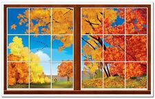 AUTUMN scene setter wall decoration kit over 5' scenic fall window leaves tree