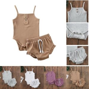 Baby Girls Summer Clothes Outfits Newborn Sleeveless Tops Shorts Set 2PCS Casual