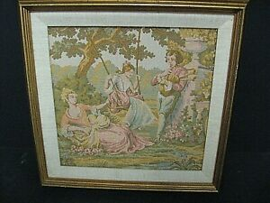 Vintage Victorian style Tapestry framed picture Lady Man Garden tapestry framed