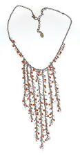 ROBERT ROSE *WATERFALL NECKLACE* TINY RED BEADS & FAUX-PEARLS - BOHO/HIPPIE