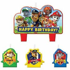 Paw Patrol Puppy Birthday Cake Party Candles set of 4 Chase Rubble Marshall Zuma