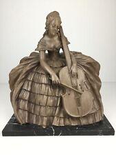 Große Skulptur Figur Biedermeier Darstellung Frau Musikerin J. Dommisse Art Deco