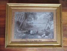 Antique 19th Century Charcoal Drawing Canoe Building at Papper's Island 1859