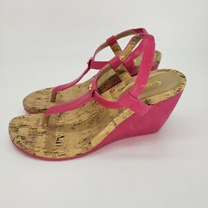 CHAPS RAEVYN HOT PINK SUEDE AND CORK WEDGE SANDALS 8.5