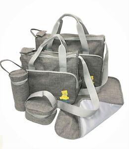 Just4baby 5pcs Waterproof Grey Large Baby Nappy Diaper Changing Bags Bag Mat 508