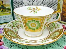 ROYAL CROWN DERBY GREEN DERBY PANEL HEAVY GOLD FLORAL TEA CUP AND SAUCER