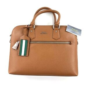 Polo Ralph Lauren Pebbled Leather Briefcase In Polo Tan With Dust Bag New