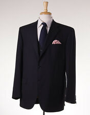 NWT $7795 BRIONI Three-Piece Lightweight Super 180s Wool Suit 44 R Solid Black