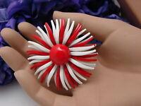 Vintage Red & White Thin Petal Retro Hippy Mod Enamel Metal Flower Pin Brooch