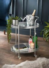Stylish Deco Glamour Silver Drinks Trolley With Glass Shelves For Your Home