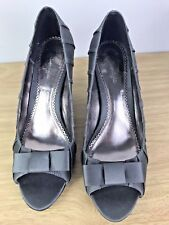 Phase Eight Pewter Silver Satin Peep Toe Heels Size 4 Wedding Races Occasion ❤️