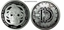 1 OZ .999 SILVER PROOF BITCOIN DECENTRALIZED FEDERAL RESERVE DEBT AND DEATH NEW!