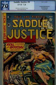 SADDLE JUSTICE #8- PGX 7.0-HIGRADE EC- RARE TITLE- 1949 INGELS CVR