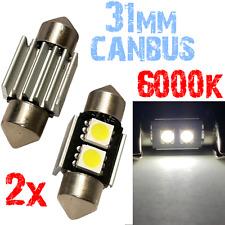 Paar Bollen Slinger 31 mm 6000k LED 2x 5050 White Autopaneel CANBUS Plate 2A11 2