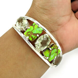 Cushion Shape Green Copper Turquoise Amethyst Gemstone Jewelry Silver Bangle D31