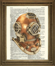 DIVING HELMET DICTIONARY PRINT: VIntage Skuba Art Wall Hanging