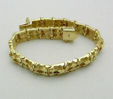 "Solid 14k Yellow Gold Nugget Style Bracelet 7"" long 28.4 grams"