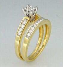 .50ct Princess Round Cut Channel Invisible Set Wedding Ring 14K 2-Toned Gold