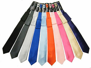 Mens Solid Satin Neck Tie with Hanky 22Colors