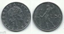 ITALIA Italy 50 Lire, 1981, KM# 95.1 Ø 24.8 mm.