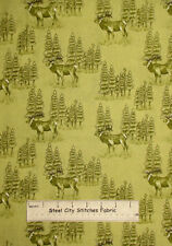 Riverwoods Woods Water & Wildlife Elk Trees Scenic Green Cotton Fabric YARD