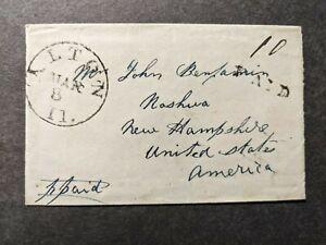 1840's STAMPLESS ALTON, ILLINOIS Postal History Cover to NASHUA, NH