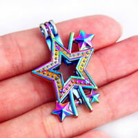 2pc Rainbow Color Five-pointed Star Alloy Locket Pearl Cage Pendant DIY Necklace