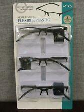 Design Optics by Foster Grant Semi-Rimless Plastic Reading Glasses, 3-pack +1.75