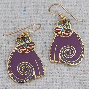 Vintage Signed Laurel Burch Mythical Cat Purple Enamel Drop Dangle Earrings