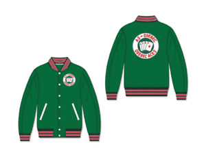 Quebec Aces Jacket Stitched Vegan Leather green True Size Free Ship
