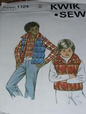 KWIK SEW #1124 - BOYS QUILTED - SNAP DOWN - WINTER VEST w/COLLAR PATTERN  4-7 uc