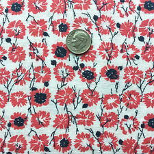 """Vintage Partial Feed Sack Red Floral with Black and White Accents 21"""" x 18"""""""