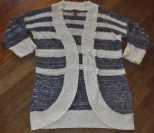 GIRLS RED CAMEL OPEN FRONT LIGHT WEIGHT CARDIGAN SWEATER~BLK/WH STRIPED~SZ XS~EC