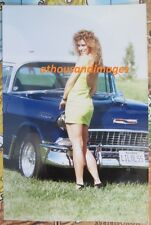 Real Photo/Sexy Woman w/Curly Hair In 80s Fashion w/1955 Chevy Bel Air 352